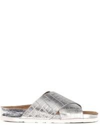 Sandales plates en cuir argentées Sam Edelman