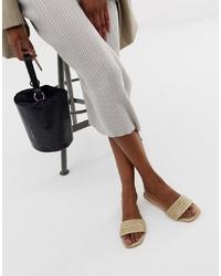 Sandales plates en cuir beiges ASOS DESIGN