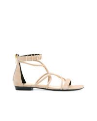 Sandales plates en cuir beiges Barbara Bui