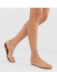 Sandales plates en cuir beiges New Look
