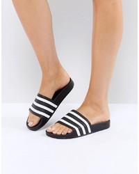 Sandales plates en cuir blanches et noires adidas Originals