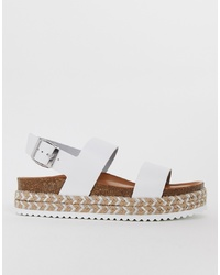 Sandales plates en cuir blanches Aldo