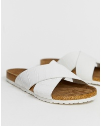 Sandales plates en cuir blanches ASOS DESIGN