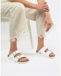 Sandales plates en cuir blanches Birkenstock