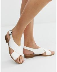 Sandales plates en cuir blanches Faith