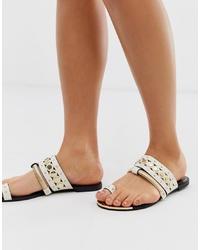 Sandales plates en cuir blanches River Island
