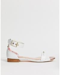 Sandales plates en cuir blanches Ted Baker