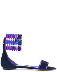 Sandales plates en cuir bleu marine Jimmy Choo