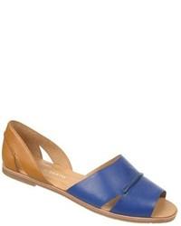 Sandales plates en cuir bleues
