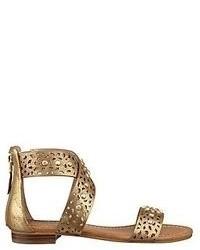 Sandales plates en cuir dorées