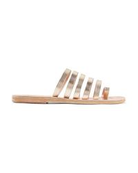 Sandales plates en cuir dorées Ancient Greek Sandals
