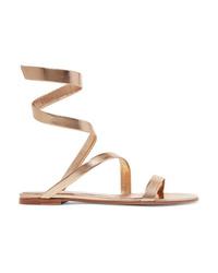 Sandales plates en cuir dorées Gianvito Rossi