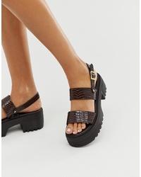 Sandales plates en cuir épaisses marron foncé ASOS DESIGN
