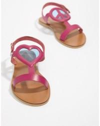 Sandales plates en cuir fuchsia Love Moschino