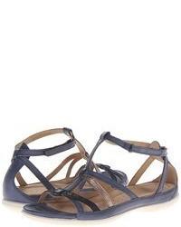 Sandales plates en cuir gris foncé