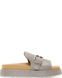 Sandales plates en cuir grises
