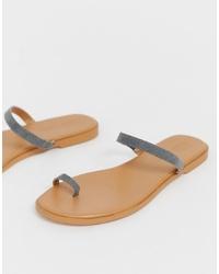 Sandales plates en cuir grises ASOS DESIGN