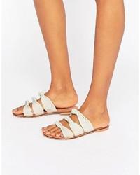Sandales plates en cuir grises Asos