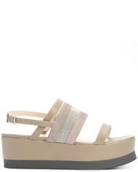 Sandales plates en cuir grises Fabiana Filippi
