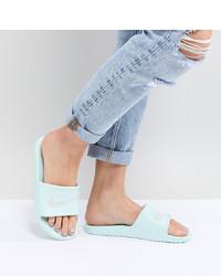 Sandales plates en cuir grises Nike
