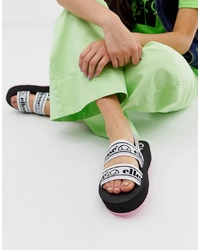 Sandales plates en cuir imprimées blanches Ellesse