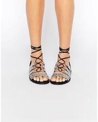 Sandales plates en cuir imprimées serpent grises Asos