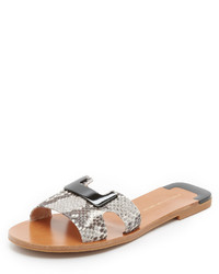Sandales plates en cuir imprimées serpent grises Diane von Furstenberg