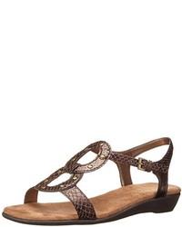 Sandales plates en cuir imprimées serpent marron