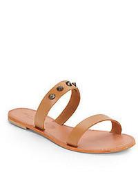 Sandales plates en cuir marron clair
