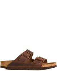 Sandales plates en cuir marron foncé Birkenstock