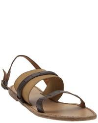 Sandales plates en cuir marron foncé