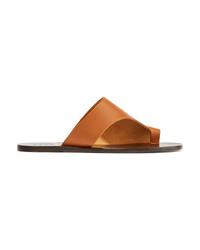 Sandales plates en cuir marron Atp Atelier