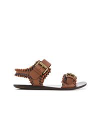 Sandales plates en cuir marron See by Chloe