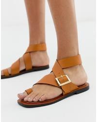 Sandales plates en cuir moutarde Office