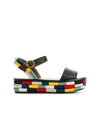 Sandales plates en cuir multicolores Tory Burch