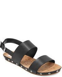 Sandales plates en cuir noires