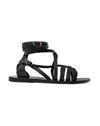 Sandales plates en cuir noires Ancient Greek Sandals