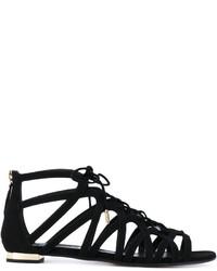 Sandales plates en cuir noires Aquazzura