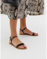Sandales plates en cuir noires ASOS DESIGN