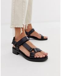 Sandales plates en cuir noires ASOS WHITE