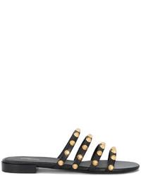 Sandales plates en cuir noires Balenciaga