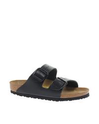 Sandales plates en cuir noires Birkenstock