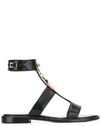 Sandales plates en cuir noires Fendi