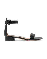 Sandales plates en cuir noires Gianvito Rossi