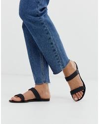 Sandales plates en cuir noires Glamorous