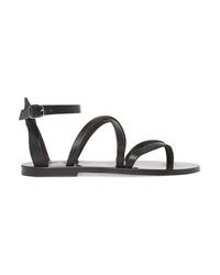 Sandales plates en cuir noires K Jacques St Tropez