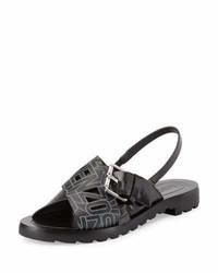 Sandales plates en cuir noires Kenzo