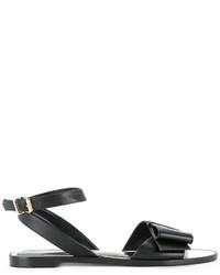 Sandales plates en cuir noires Lanvin