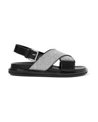 Sandales plates en cuir noires Marni