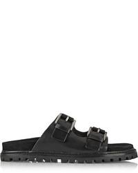 Sandales plates en cuir noires Michael Kors